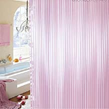 Hotel Quality Mildew Resistant Washable Fabric Shower Curtain Liner, Water-Repellent, Pink Tonal Damask Stripe, Eco Friendly & PVC-Free, Extra Long 72 x 96 inches