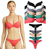 Uni Style Apparel Womens Full Cup Laser Cut Push Up Bra and No Show Thong Panty Set -12 Pack (6 Pieces Each)