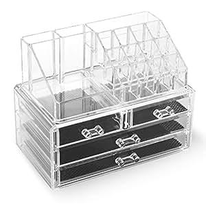 Homfa Acrylic Cosmetic Jewelry Storage Boxes Transparent Makeup Organizer