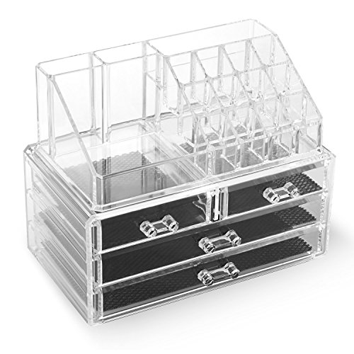 Homfa Acrylic Cosmetic Jewelry Storage Boxes Tr...