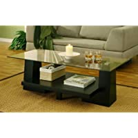 Furniture of America Contours Leveled Contemporary Cool Glass Living Room Coffee Table