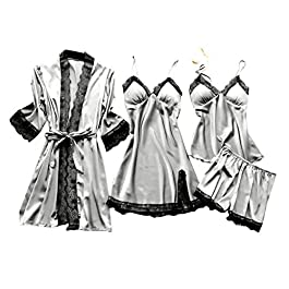 TTlove_Women Satin Floral Short Kimono Robe Bridal Dressing Gown Robes for Wedding Party,Women Bride Lace Bridesmaid Rhinestone Style V-Neck Half Sleeves Bridesmaid Nightwear