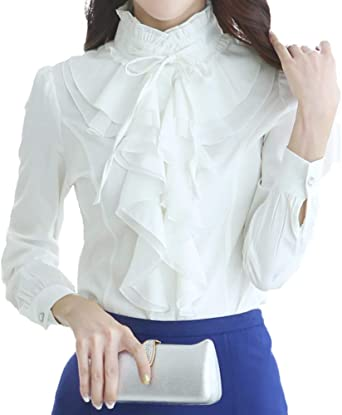 TALLA XS. Nanxson Camisa Manga Larga Blusa con Volantes Botón Vintage Camiseta Profesional para Mujer CSW0033