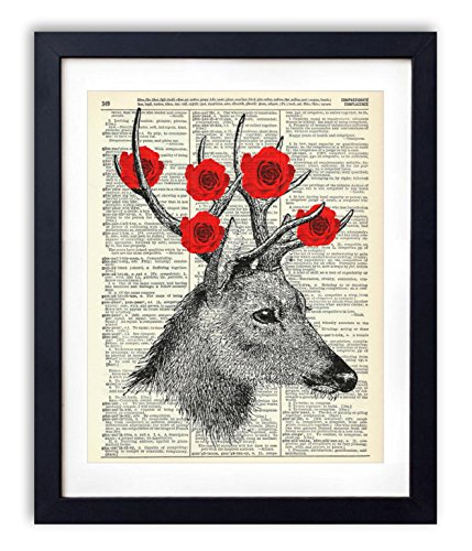 deer-with-roses-upcycled-vintage-dictionary-art-print-8x10