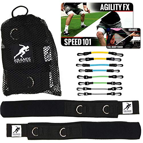 Kbands | Speed and Strength Leg Resistance Bands | Includes Speed 101 and Agility FX Digital Training Programs (L2 User Weight Under 110 - Grey, Green, Teal, and Yellow) (Best Football Training Program)