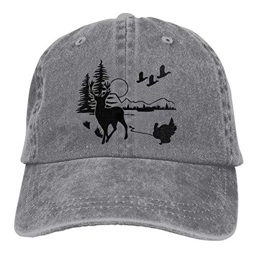 (Unisex Baseball Cap Wildlife Scene Silhouette Cotton Denim Dad Hat Adjustable Fashion Sports Cap Gray )