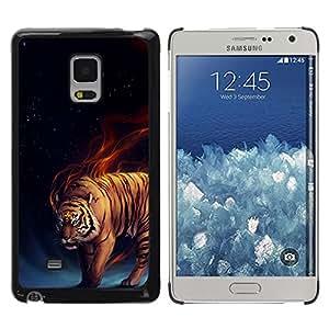 Paccase / Dura PC Caso Funda Carcasa de Protección para - Tiger Fire Fiery Blue Darkness Black Animal - Samsung Galaxy Mega 5.8 9150 9152