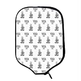 YOLIYANA Yoga Durable Racket Cover,Girl in Lotus Pose with Meditating Eastern Design Element Floral Pattern Asia Culture for Sandbeach,One Size