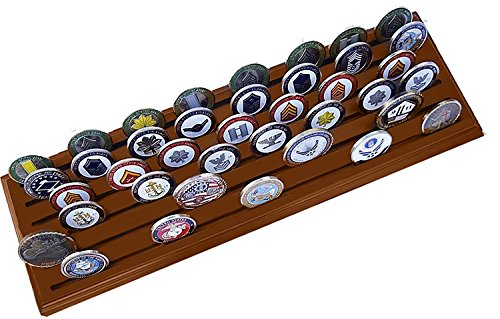 DECOMIL - Poker Chips and Military Collectible Challenge Coin Holder Solid Walnut (Large, 6 Rows) by DECOMIL