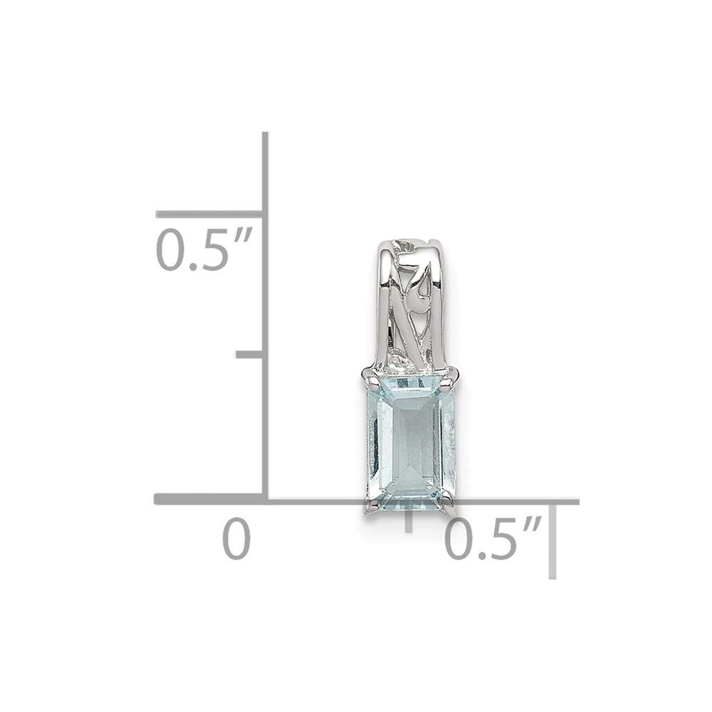 Sterling Silver Aquamarine Rectangle Charm Pendant