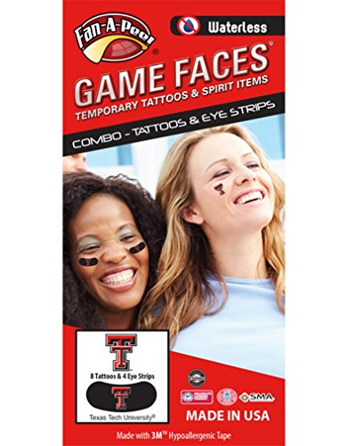 Texas Tech (TTU) Red Raiders - Waterless Peel & Stick Temporary Tattoos - 12-Piece Combo - 8 Scarlet/Black TT Logo Spirit Tattoos & 4 Scarlet/White TT Logo on Black Eye Strips