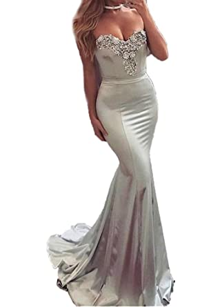 Tsbridal Mermaid Prom Dress 2018 Sweetheart Prom DressesSilver-US2