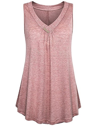KABUEE Women's Casual Button Decor Flowy Tank Tops Flare Sleeveless V Neck Tunic Top Shirts Blouse (M, Pink) -