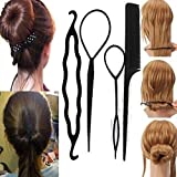 Sanwood Women's 4Pcs Hair Twist Styling Clip Stick Bun Maker Braid Tool