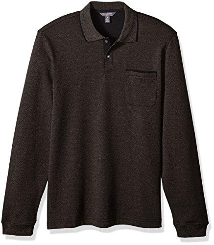 Van Heusen Mens Flex Jaspe Solid Long Sleeve Polo  Brown Morel  Small