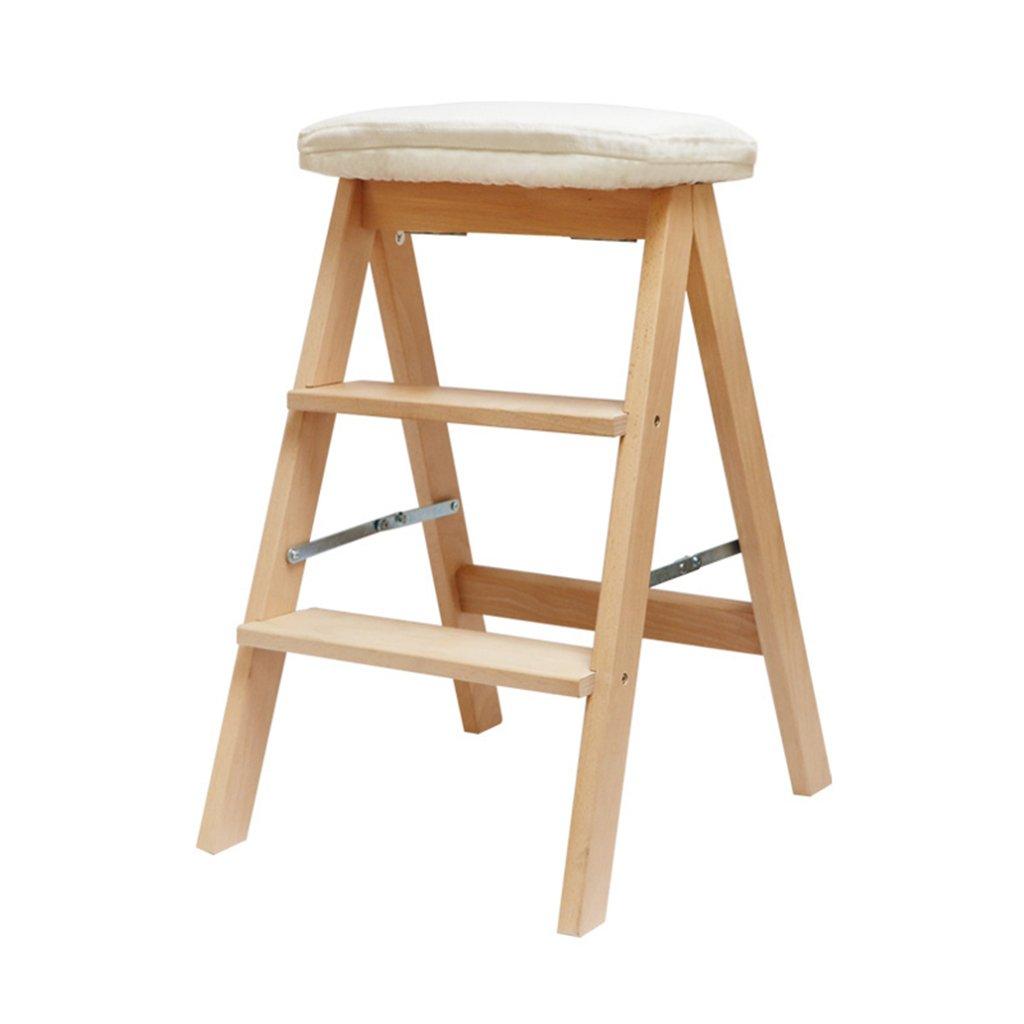 Chen- Maison en bois massif Multi-usages échelle pliante Creative Escalier Chaise Escalier Intérieur Déplacer échelle