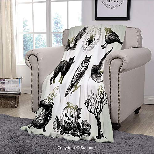 BeeMeng Printing Blanket Coral Plush Super Soft Decorative Throw Blanket,Vintage Halloween,Halloween Related Pictures Drawn by Hand Raven Owl Spider Black Cat Decorative,Black White(59