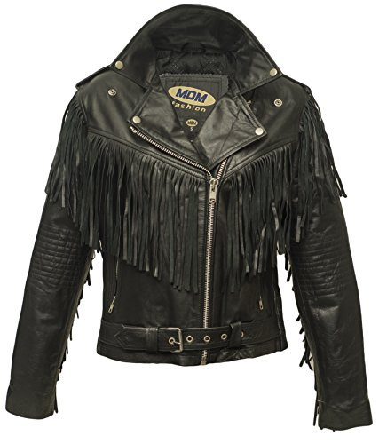 Veste en cuir pour femmes avec une frange , veste Chopper