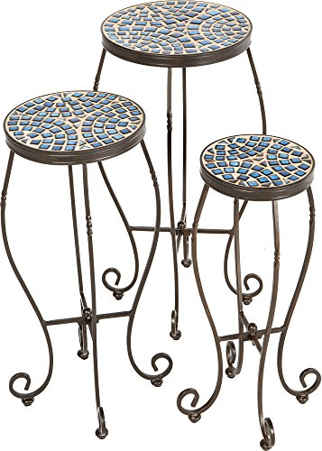 Alfresco Home Tremiti Round Ceramic Mosaic Plant Stands- Set of 3