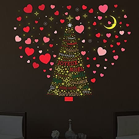 christmas decorations wall stickers christmas love with french quotes and stars tree wall