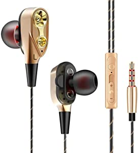 Dual Bass Speakers Earphones HiFi Headset Earbuds in-Ear Headphones Built in Microphone for Laptops, Desktop PC Computers, Samsung iPhone Mobile Phones and Other 3.5mm Jack Support Audio Devices HP80