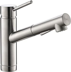 Pull Out Kitchen Sink Faucet in Brush Nickel, Sink Bar Faucet Single Hole, Prep Sink Faucet with Sprayer in Brushed Nickel
