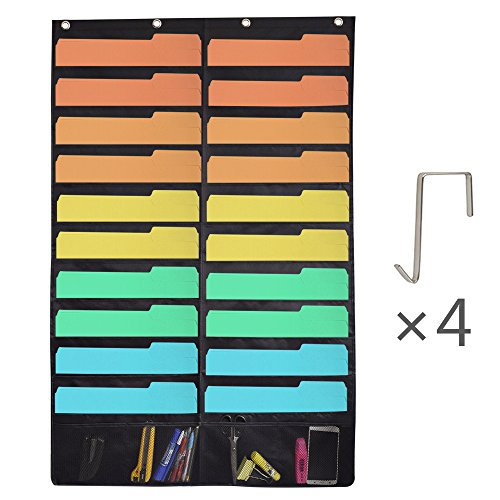 UPC 686560621048, Storage Pocket Chart,Hanging File folder Organizer Wall Mount Bill magazine holder,Over the door Perfect for Home, School or Office with 4 Hooks 20Large pockets Black