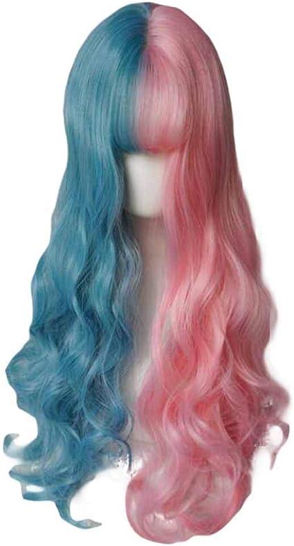 65 cm rosa/azul peluca de pelo rizado largo peluca de pelo ...