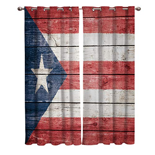 Window Treatments Curtains Room Window Panel Set for Living/Dining/Bedroom, Puerto Rico Flag on Rustic Wood Plank 40 by 63 Inch, 2 Panels (Furniture Rico Living Puerto)