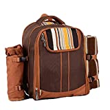 Huayue Outdoor Portable Shoulder Four-Person Picnic Bag Cutlery Set Multi-Function Cutlery Bag Set Camping Insulation Backpack (Color : Brown)