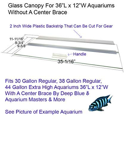 Blue Spotted Glass Canopy for Aquariums with and Without Center Braces, 10 Gallon to 200 Gallon Aquariums (Tank Without Center Brace, 36