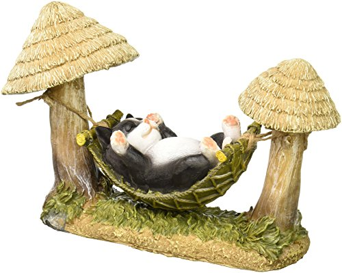 StealStreet SS-G-74005 Black and White Kitty Cat Sleeping in Hammock Solar Light Figurine by StealStreet