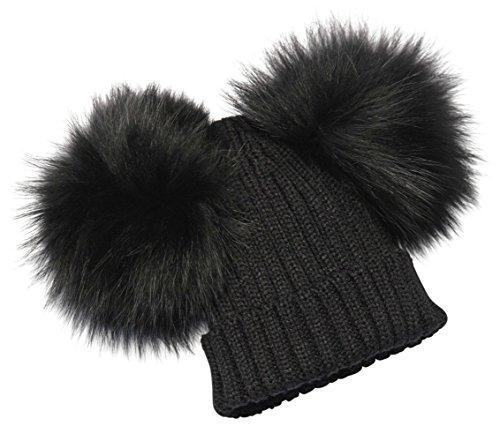 BrillaBenny Cappello Nero PON PON Doppio Staccabile Vera Pelliccia Black  Topolino (x Ragazza d4b39790f48e