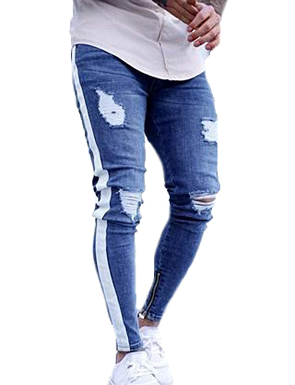 ed80497d50ed XARAZA Men's Distressed Ripped Slim Fit Jeans Skinny Denim Moto Biker  Pencil Pants at Amazon Men's Clothing store: