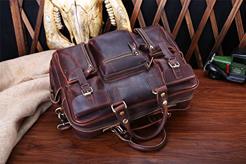 JOYIR , Borsa Messenger  Donna Dark brown oil wax skin 40L x 27H x 8D inch