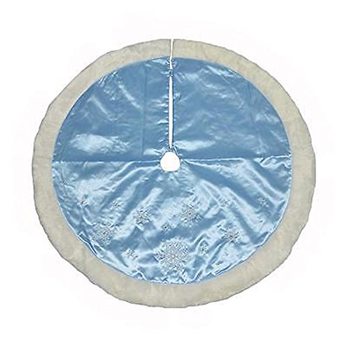 48 Inch - Jaclyn Smith Blue Snowflake with Faux Fur Holiday Christmas Tree Skirt by Jaclyn Smith