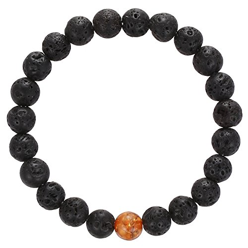 Gemstone Beaded Bracelet, BRCbeads Black Lava Stone with Synthetic Amber Natural Genuine Gemstones Birthstone Handmade Healing Power Crystal Elastic Stretch 8mm with Gift Box Unisex Amber Beaded Stretch Bracelet
