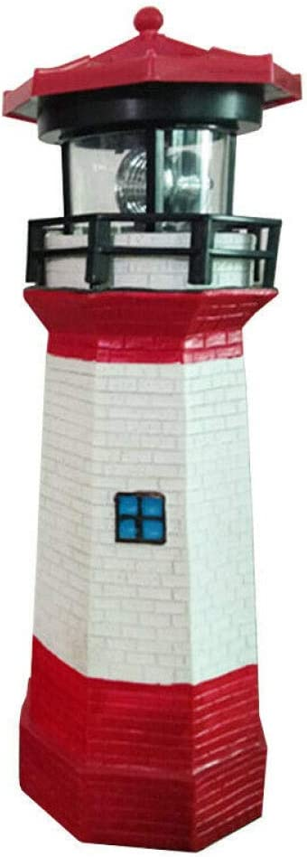 Building Tower Automatically lit LED Solar Light Lighthouse Statue Shape Rotating Outdoor Solar Powered lamp for Garden Yard Decoration-A