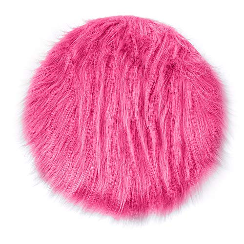 Hongxin Artificial Sheepskin Set,1pc Solid Color Artificial Wool Soft Rug Chair Cover Warm Hairy Carpet Seat Home Decor (Hot Pink, 30x30CM)