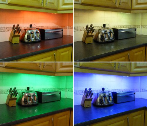 kitchen lighting under cabinet led. COLOUR CHANGING LED KITCHEN / UNDER CABINET LIGHTING SET (INCLUDES 2 X 50CM STRIPS Kitchen Lighting Under Cabinet Led