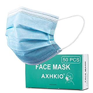 Disposable Masks 50 Pcs, AXHKIO 3 Ply Safety Face Mask Suitable for School, Outdoor and Office, Face Masks, Ship from the US, Disposable Breathable Earloop Masks