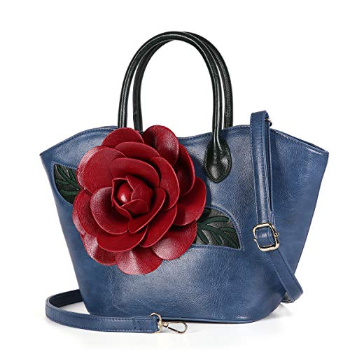 Women Purse Large Rose Flower Handbag Faux Leather Tote Bag By Vanillachocolate (Blue) (Rose Embroidery Tote)