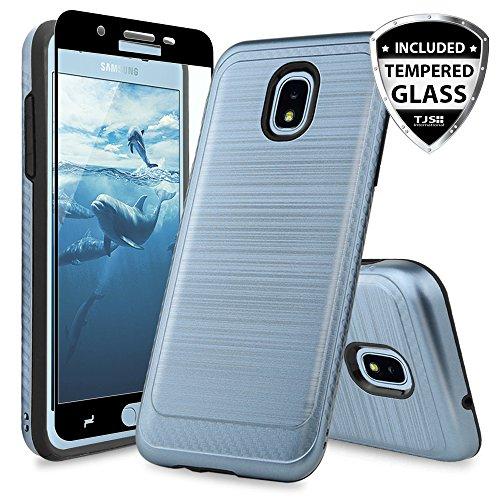 TJS Galaxy J7 2018/J7 Refine/J7 Star/J7 Eon/J7 TOP/J7 Aero/J7 Crown/J7 Aura/J7 V 2nd Gen Case, with [Full Coverage Tempered Glass Screen Protector] Phone Case Metallic Brush Finish Inner Layer (Blue) (Top Best Phones 2019)