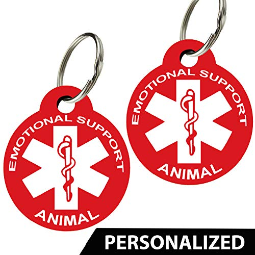 CNATTAGS ESA - Pet ID Tags - Personalized Front and Back Premium Aluminum (Set of 2) (Round, Red)