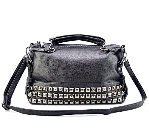 Mn&Sue Modern Punk Pu Leather Cross Body Silvery Rivet Studded Shoulder Nightclub Hobo Handbag for Lady by Mn&Sue (Image #1)
