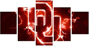 HKDBH Oklahoma Sooners Large Canvas Prints Poster Framed Artwork Wall Decor Bedroom Modern Pictures Paintings for Living Room/Holiday Christmas Halloween,S:55x100cm