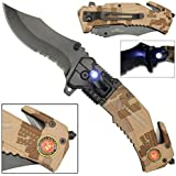 Rogue River Tactical 5-in-1 Multitool Pocket Rescue Combat Knife with Line Cutter, Belt Clip, LED Light, Belt Cutter and Window Breaker USMC Marine Corps Multi Tool Spring Assisted