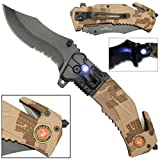 Snake Eye Tactical Tactical 5-in-1 Multitool Pocket Rescue Combat Knife with Line Cutter, Belt Clip, LED Light, Belt Cutter and Window Breaker USMC Marine Corps Multi Tool Spring Assisted