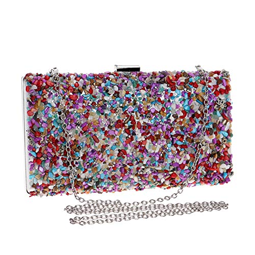 Material By Party Clamshell Chain Color Clutch Women's Handbags Bag Suede Shoulder LF Crossbody Pattern Banquet RLF Stone Dress Evening Multicolored With qt8T8P