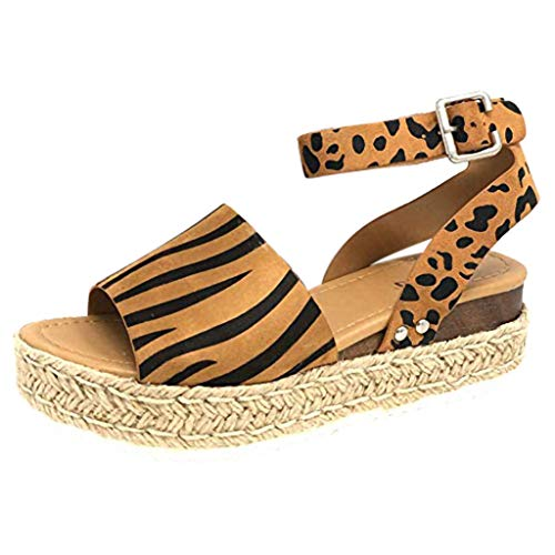 - Nuewofally Women's Sandals Leopard Print Fringe Suede Roma Ankle Strap Open Toe Thick-Bottom Espadrilles Shoes Summer Brown